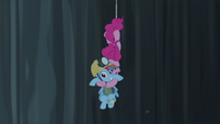 Pinkie Pie grabs Rainbow in midair S5E8