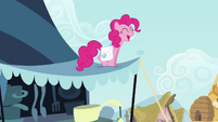 Pinkie Pie singing on top of awning S4E12