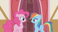 Pinkie and Rainbow smiling S1E05