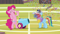 Pinkie blasts party cannon in RD's face S9E15