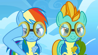 Rainbow Dash putting her goggles on S3E7