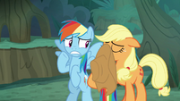 Rainbow and Applejack scared of fake Rarity S8E13