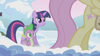Twilight and Spike approach Fluttershy S1E11