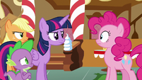 Twilight and friends approach Pinkie Pie S6E15