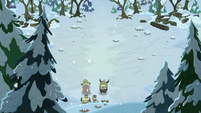 Yona and her family enter a snowy forest S8E16