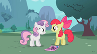 Apple Bloom questioning Sweetie Belle S02E05