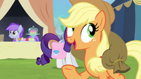 Applejack crosses in front of Rarity S4E22