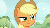 Applejack looks disapprovingly at Apple Bloom S8E12