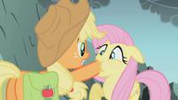 Applejack silences Fluttershy S1E07