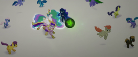 Cadance jumps in front of Celestia and Luna MLPTM