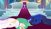Celestia and Luna collapse on the floor S9E24