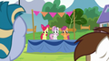 Cutie Mark Crusaders standing on a platform S7E21.png