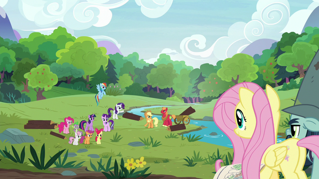 File:Main five and other ponies ready to help S7E5.png