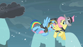 Rainbow Dash pushing Fluttershy S2E11.png