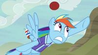 Rainbow misses Pinkie Pie's goal shot S6E18
