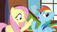 Rainbow pushes Fluttershy's hoof away S5E5