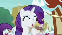 Rarity laughing at Pinkie Pie's antics S7E9
