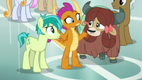Sandbar, Smolder, and Yona looking confused S8E5