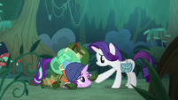 Starlight Glimmer taking Rarity by the hoof S8E13