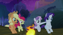 Sweetie Belle and Apple Bloom sat with their sisters S3E6