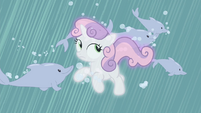Sweetie Belle surrounded by dolphins S4E19