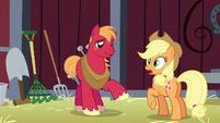 Big Mac about to talk; Applejack's cutie mark glows S5E17