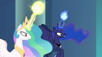Celestia and Luna charging their magic S9E24