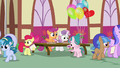Cutie Mark Crusaders giving out camp flyers S7E21.png
