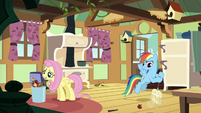 Fluttershy and Rainbow clean Fluttershy's kitchen S6E11