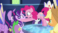 Pinkie Pie telling Starlight about the seaponies S8E1