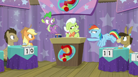 "Rainbow Dash declaring ""rigged!"" S9E16"