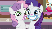 Rarity and Sweetie Belle smiling at the camera S7E6