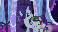 Rarity with a hoof around Sweetie Belle S6E15