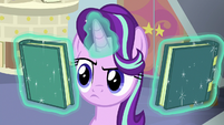 Starlight Glimmer levitating two books S8E12