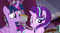 Twilight and Starlight frightened by Rarity S7E14
