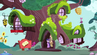 Twilight at the library entrance S4E26