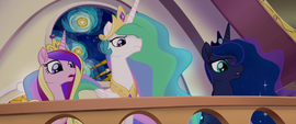 Celestia, Luna, and Cadance watch from the balcony MLPTM