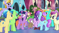 Crystal Ponies gathering around Spike S6E16.png