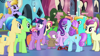 Crystal Ponies gathering around Spike S6E16