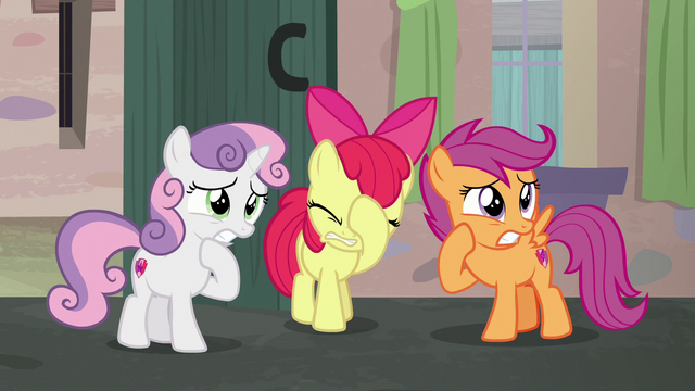 File:Cutie Mark Crusaders looking embarrassed S7E8.png