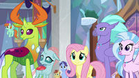 Fluttershy, changelings, and Hippogriffs listen to Twilight S8E1
