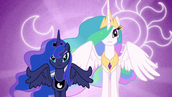 Luna and Celestia with their cutie marks in the background S3E01