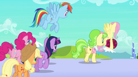 Main ponies and Peachbottom leave the station S03E12