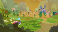 Mane Six racing toward Ponyville S9E2