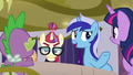 Minuette asks Spike to tell the sleepover story S5E12.png