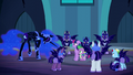 Nightmare Moon laughs at Spike's answer S5E26.png