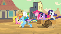 Pinkie Pie and friends 'follow that stagecoach!' S2E14