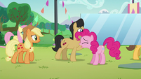Pinkie calling for everypony's attention S5E24