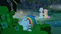 Rainbow Dash crashes in the bushes S9E17