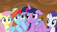 Rainbow Dash hiding behind Twilight S9E2